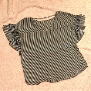 Black and white thinly striped blouse